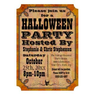 Invitación de antaño del fiesta de Halloween del v