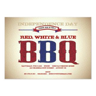 Invitación de antaño del rojo, blanca y azul del 4
