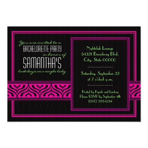Invitación de Bachelorette (negro y rosa) Invitación 12,7 X 17,8 Cm
