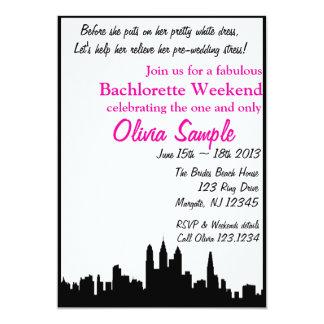 Invitación de Bachlorette de la ciudad Invitación 12,7 X 17,8 Cm