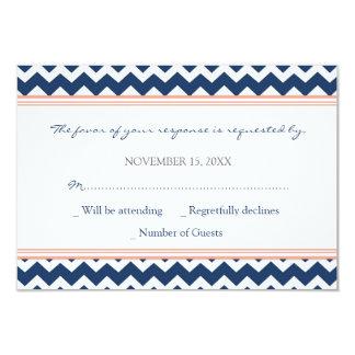 Invitación de boda azul coralina de Chevron RSVP