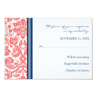 Invitación de boda azul coralina de RSVP del
