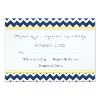 Invitación de boda azul de Chevron RSVP del limón