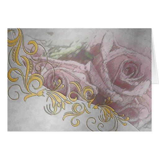 Invitación de boda de grabación en relieve rosada  felicitación