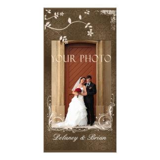 Invitación de boda de la foto - acentos de Brown Tarjeta Fotográfica