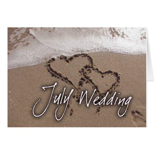 Invitación de boda de playa del destino de julio tarjeta de felicitación