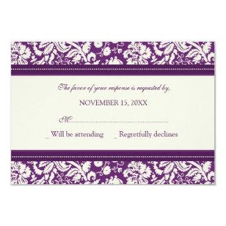 Invitación de boda de RSVP del damasco de la crema