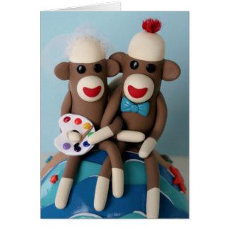 Invitación de boda del artista del mono del calcet tarjeta de felicitación