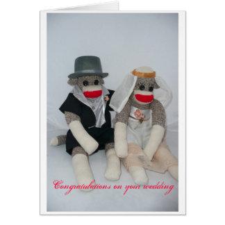 Invitación de boda del mono del calcetín tarjeta de felicitación
