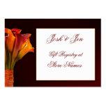 Invitación de boda del registro de regalos de la c tarjetas de negocios