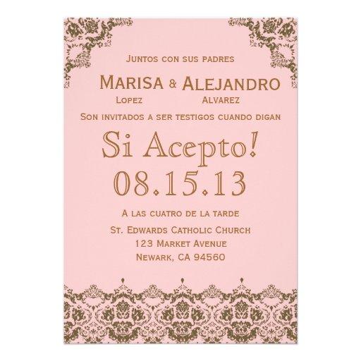 "Invitacion de Boda en español / Wedding Invitation 5"" X 7"" Invitation Card | Zazzle"