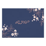 Invitación de boda floral azul coralina de RSVP