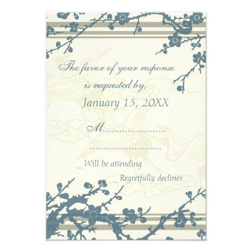 Invitación de boda floral azul de RSVP