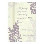 Invitación de boda floral púrpura de RSVP