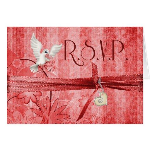 Invitación de boda floral roja de encargo de R.S.V Tarjeta De Felicitación