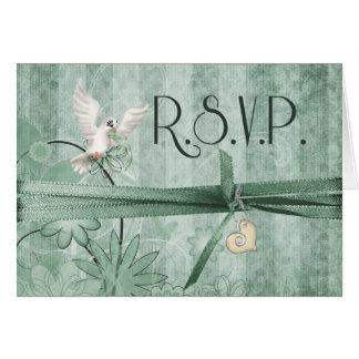 Invitación de boda floral verde de encargo de R.S. Tarjeta