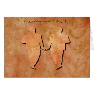 Invitación de boda gay del remolino anaranjado felicitación