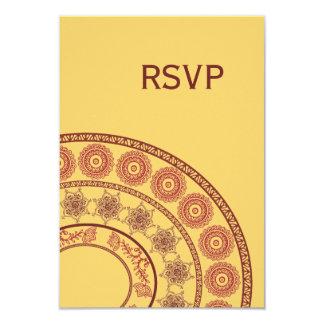 Invitación de boda india roja amarilla de Mehndi
