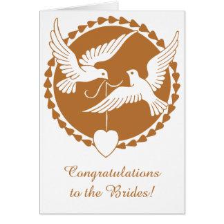 Invitación de boda lesbiana de las palomas de tarjeta de felicitación