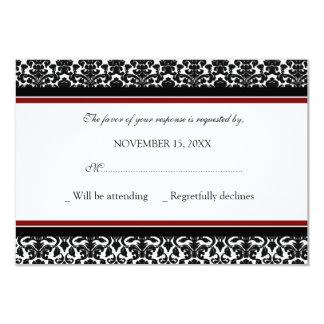Invitación de boda negra roja de RSVP del damasco