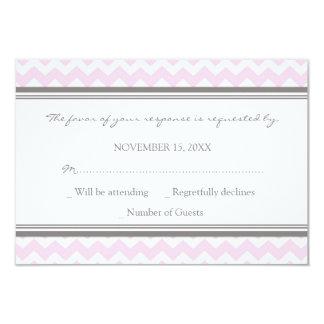Invitación de boda rosada gris de Chevron RSVP