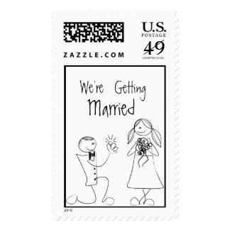 Invitación de boda Sello Postal Stamps