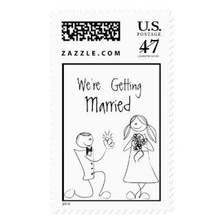 Invitación de boda Sello Postal Stamp