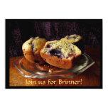 Invitación de Brinner de los molletes del arándano Invitación 12,7 X 17,8 Cm