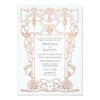 Invitación de bronce del boda del marco de Nouveau