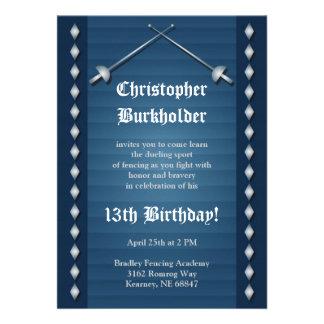 Invitación de cercado azul de la fiesta de cumplea