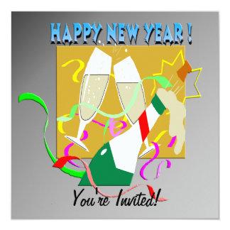 Invitación de Champán de la Feliz Año Nuevo