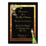 Invitación de Champán del oro del negro del Año Invitación 12,7 X 17,8 Cm