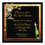 Invitación de Champán del oro del negro del Año Invitación 13,3 Cm X 13,3cm