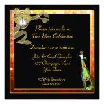 Invitación de Champán del oro del negro del Año Nu