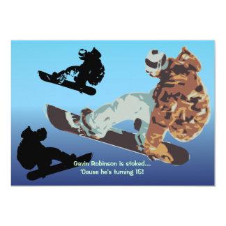 Invitación de cogida de la snowboard del aire