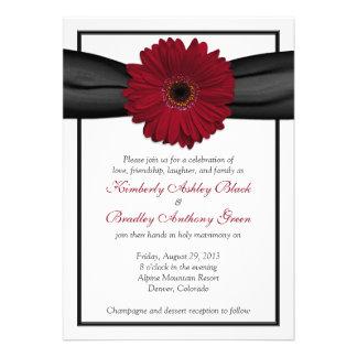 Invitación de color rojo oscuro del boda de la cin