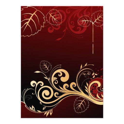 Invitación de color rojo oscuro y del oro