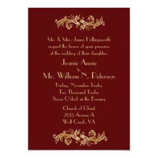 Invitación de color rojo oscuro y del oro elegante