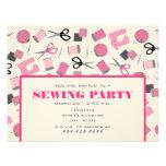 Invitación de costura rosada del fiesta