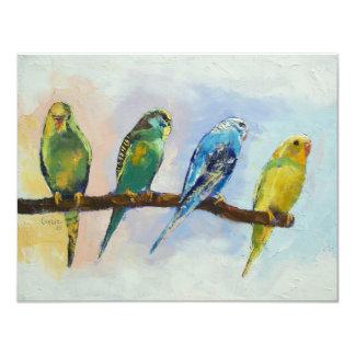 Invitación de cuatro Parakeets