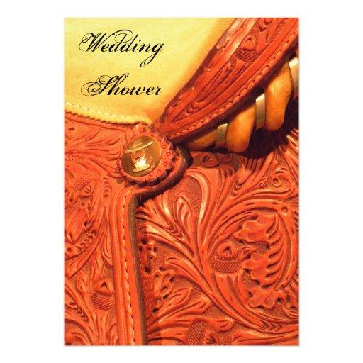 Invitación de cuero de la ducha del boda del país