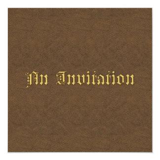 Invitación de cuero de lujo del boda de la mirada