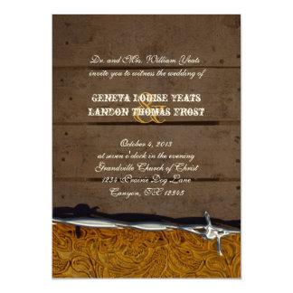 Invitación de cuero de madera del boda de Brown
