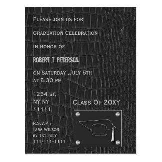 invitación de cuero gris con clase de la fiesta de postales