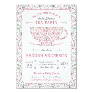 Invitación de encaje de la fiesta del té del rosa