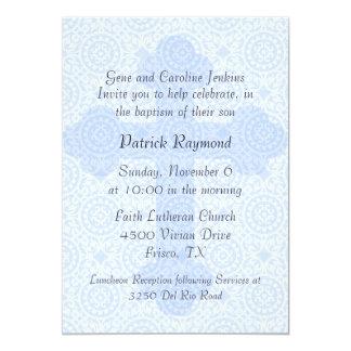 Invitación de encargo cruzada azul elegante del