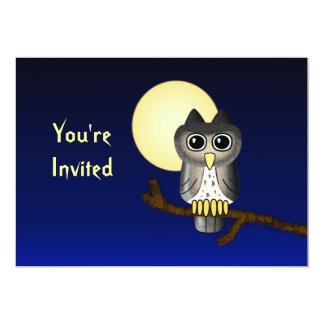 Invitación de encargo de Halloween del búho lindo Invitación 12,7 X 17,8 Cm