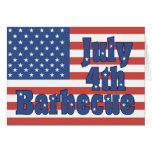 Invitación de encargo de la barbacoa del 4 de juli tarjeton