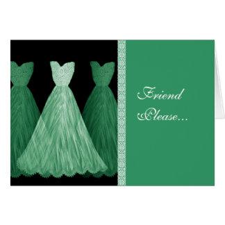 Invitación de encargo de la dama de honor - vestid tarjeton
