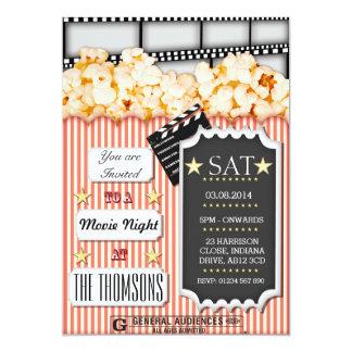 Invitación de encargo de la noche de película invitación 12,7 x 17,8 cm